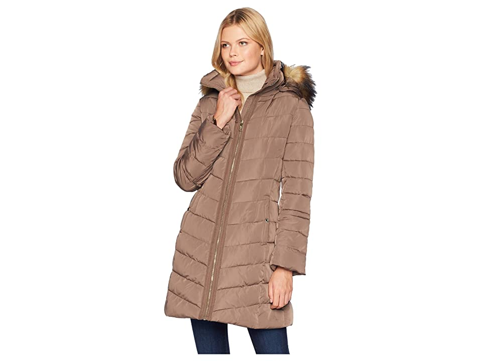 Ivanka Trump Puffer Jacket with Detachable Fur Hood and Cinched Sleeve Detail (Truffle) Women's Coat, Brown
