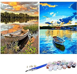 GIEAAO Acrylic Paint by Numbers for Adults Boat, DIY Oil Painting Kit Lake Canvas Pictures Drawing Paintwork with Paintbru...