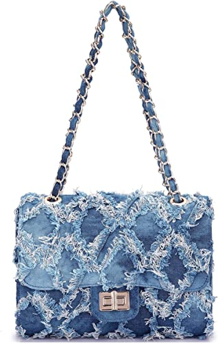 Women Fashion Casual Quilted Crossbody Distressed Jean Purse Denim Handbag Wallet Shoulder Bag with Intertwined Chain Straps (Blue): Handbags: Amazon.com