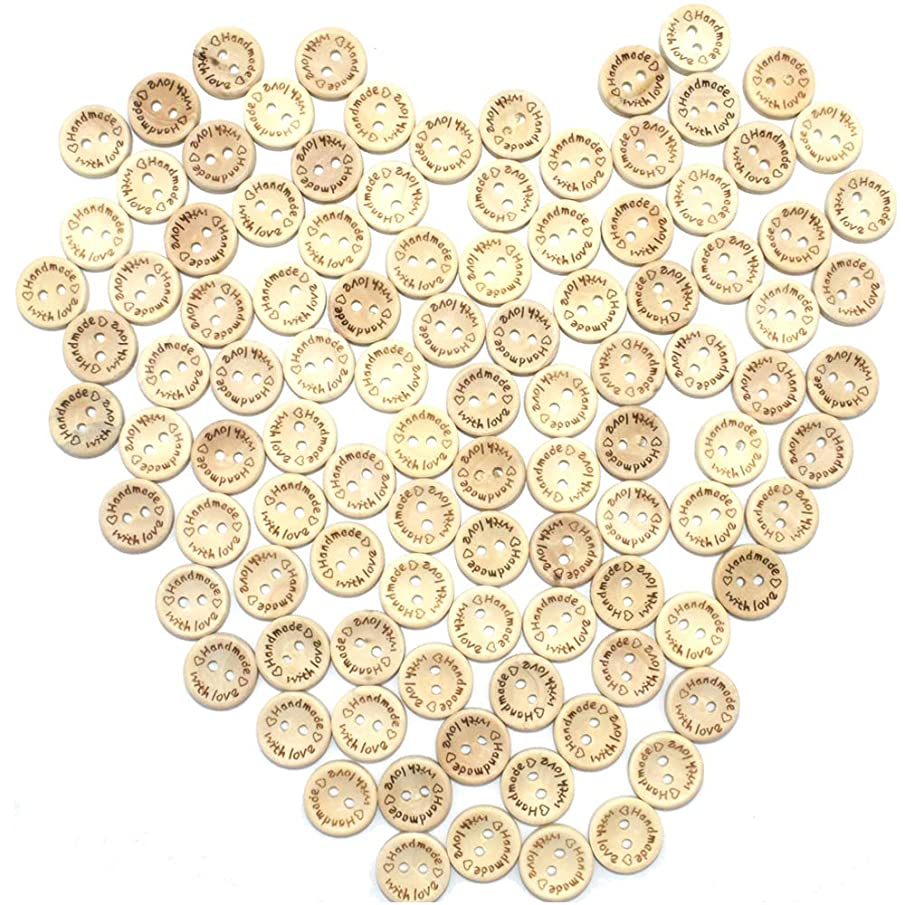 200Pcs Craft Sewing Button 2 Holes Handmade with Love Round Wooden Buttons Scrapbooking and DIY Craft