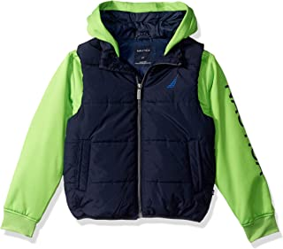 Boys' Midweight Water Resistant Hybrid Fleece Hoody Quilted Vest