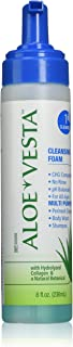 Aloe Vesta Cleansing Foam, No Rinse Skin Cleanser, Clean Scent - 8 Ounce Pump Bottle