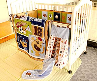BabyCrib Unique Cute Adorable Bear All Star Baseball Team Sports, 10 Piece Bedding Set, Including Crib Bumper, Diaper Stacker, and Bonus Baby Monthly Milestone Blanket for Newborn Baby Boy.
