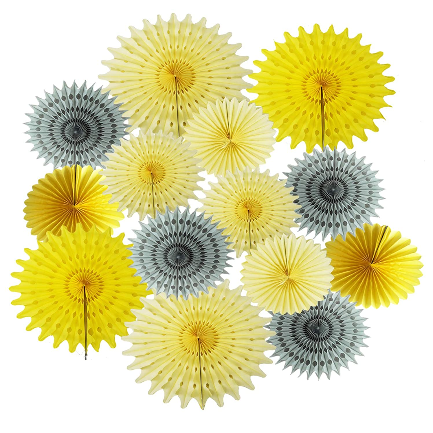 Sunflower Party Decorations You are My Sunshine Party Package 14pcs Yellow Cream Grey Tissue Paper Fans for Yellow Grey Elephant Baby Shower Decorations/Birthday Party Decor/Sunshine Nursery Decor
