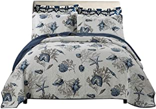 3-pieces Quilted Bedspread Throws Country Style Sea Plant Print Washed Cotton Patchwork Quilt Ultra Soft Comforter Bed Cov...