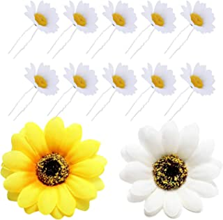 12 Pack Artificial Fake White Yellow Large Daisy Sunflower Hair Pins Alligator Clips Barrettes Clamps Wedding Bridal Hairstyle Hawaiian Party Silk Flower Headpiece Beach Holiday Decoration for Women