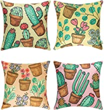 CHOU-FLEUR Decorative Throw Pillow Covers Set of 4 Cushion Cases Cotton Linen 18'' x 18'' Home Décor Designed in Canada (Flora)