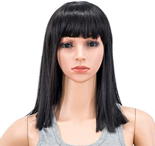 SWACC 14 Inches Short Straight Medium Shoulder Length Wig with Blunt Cut Bangs and Bottom End Synthetic Heat Resistant Hair Wigs for Women with Wig Cap (Off Black-1B)