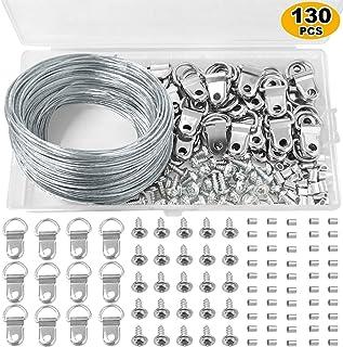 Ganchos de alambre para colgar cuadros de 30 m, kit para colgar cuadros con anilla en D, manga de bucle para engarzar