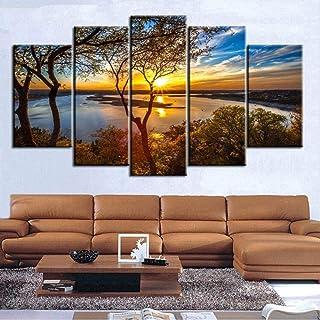 Beoosovs® 5 Tableaux d'art 200X100Cm Art Mural De Salon, Impressions sur Toile Oeuvre Salle De Bain Décoration Murale Pays...
