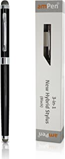 amPen Hybrid Stylus - 3-in-1 (Dual Sided Stylus Tips and Ink Pen) Ultra-Sensitive Touchscreen Stylus (Black)