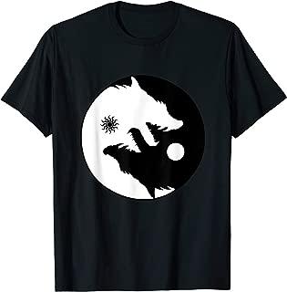 Wolf Yin Yang Sun Moon Vintage Harmony Balance Life Gift T-Shirt