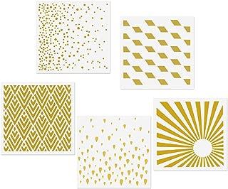 CODOHI 5 Mixed Media Stencils Set - Raindrops, Spray Dot, Sunlight, Rhombus, Mountain Peak Designs, 5.9x5.9