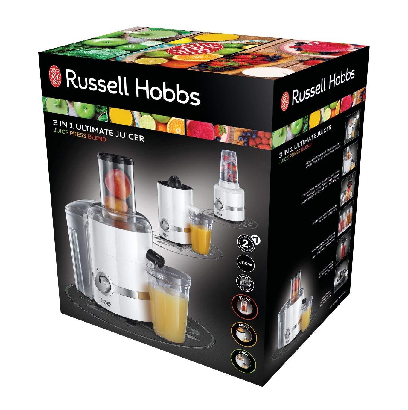 Russell Hobbs Ultimate 3 en 1 - Batidora, Licuadora y Exprimidor Eléctrico (800 W, Plástico, Blanco) - ref. 22700-56: Amazon.es: Hogar