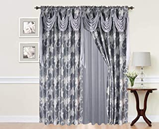 Elegant Home Window Curtain Drapes All-in-One Set with Valance & Sheer Backing & Tassels for Living Room, Bedroom, Dining Room, and Sliding Doors - Charity (Grey/Silver)