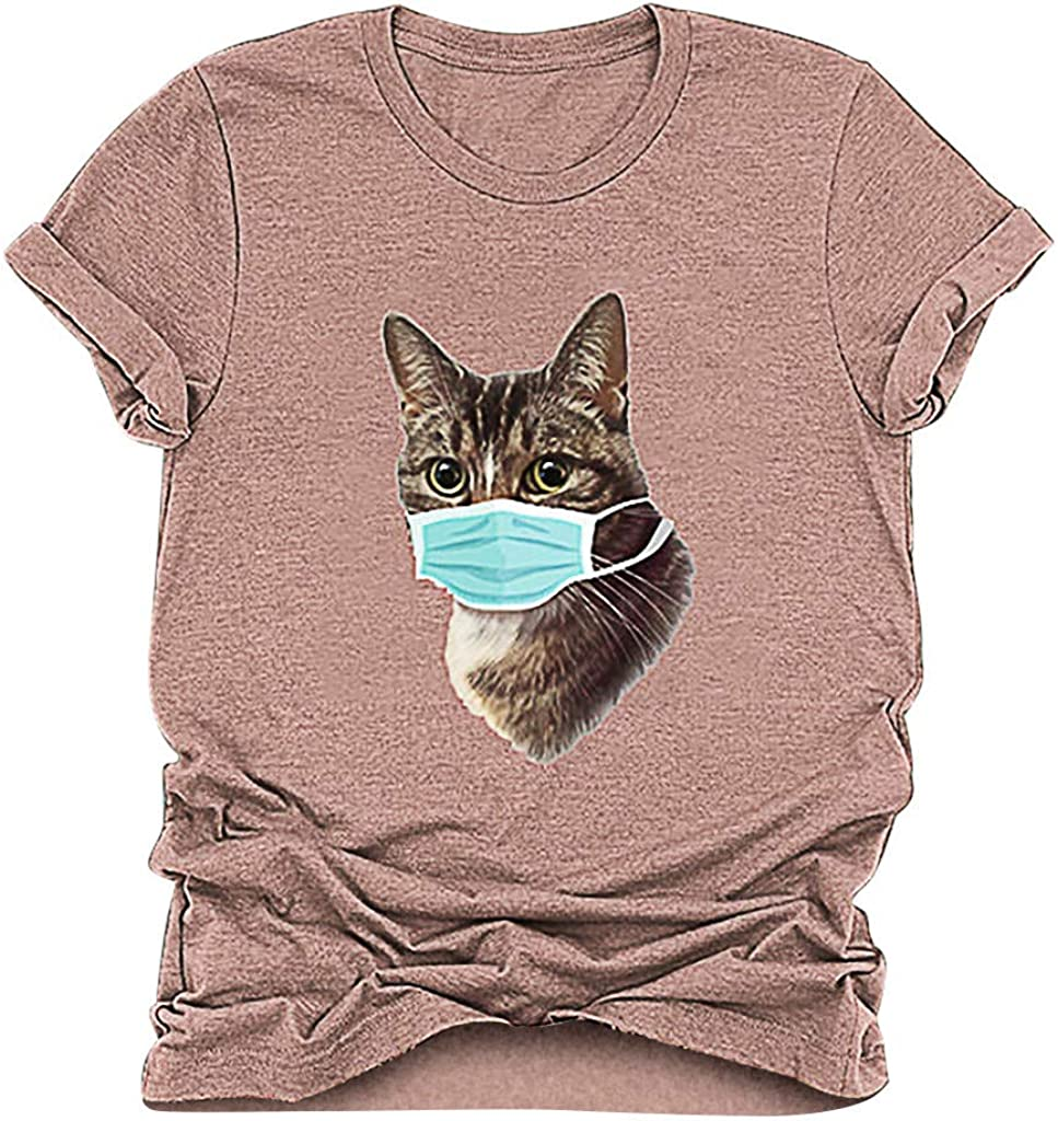 Scenxion Womens Mask Cat Tshirt Casual O-Neck Cartoon Cat Printed Sleeveless Round Neck T-Shirt Tops,Vintage Cat Printed Tee Casual T Shirt Tank Top Tees Blouse