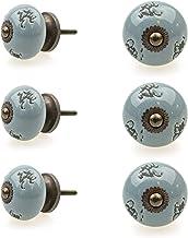 Möbelknopp möbelknopp möbelhandtag set av 6 124GN struktur stansmönster natur grå – jay knapp keramik porslin handmålade v...