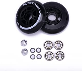 Rollerex VXT500 Inline Skate Wheels (2-Pack w/Bearings, spacers and washers)
