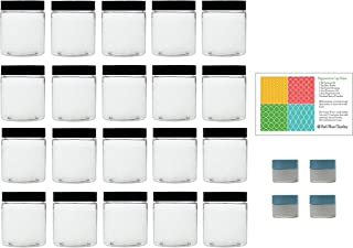 Clear 4 oz Plastic Jars with Black Lids (20 pk) with Mini Jars - PET Round Refillable Containers