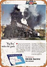 Novelty Metal Standard,1944 Union Pacific Big Boy Steam Locomotive,Wall Art Deco Poster 8×12inch