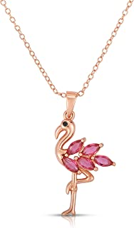 925 Sterling Silver Created Ruby Majestic Flamingo Pendant and Necklace Adjustable to Length of 16