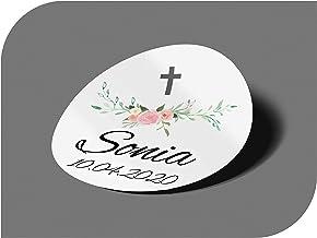 CrisPhy Pegatinas Personalizadas Boda con Nombre y Fecha Comunion Cumplea/ños Etiquetas Adhesivas para Invitacion Boda Fiesta Sellos Compromiso Vintage Bautizo Modelo 8