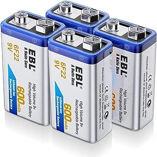 EBL 9 Volt Rechargeable Batteries Lithium ion 9V 600mAh Li-ion Batteries (4-Packs)