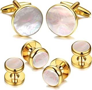 6Pcs 18K Gold Plated Mother of Pearl Round Cufflinks and Shirt Stud Set Tuxedo Studs for Shirts