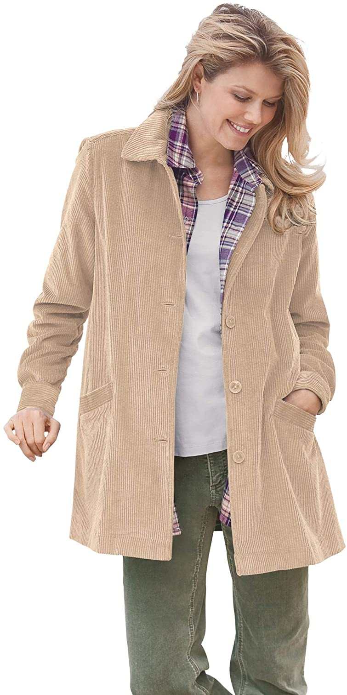 Woman Within Women's Plus Size Pleat-Back Corduroy Jacket