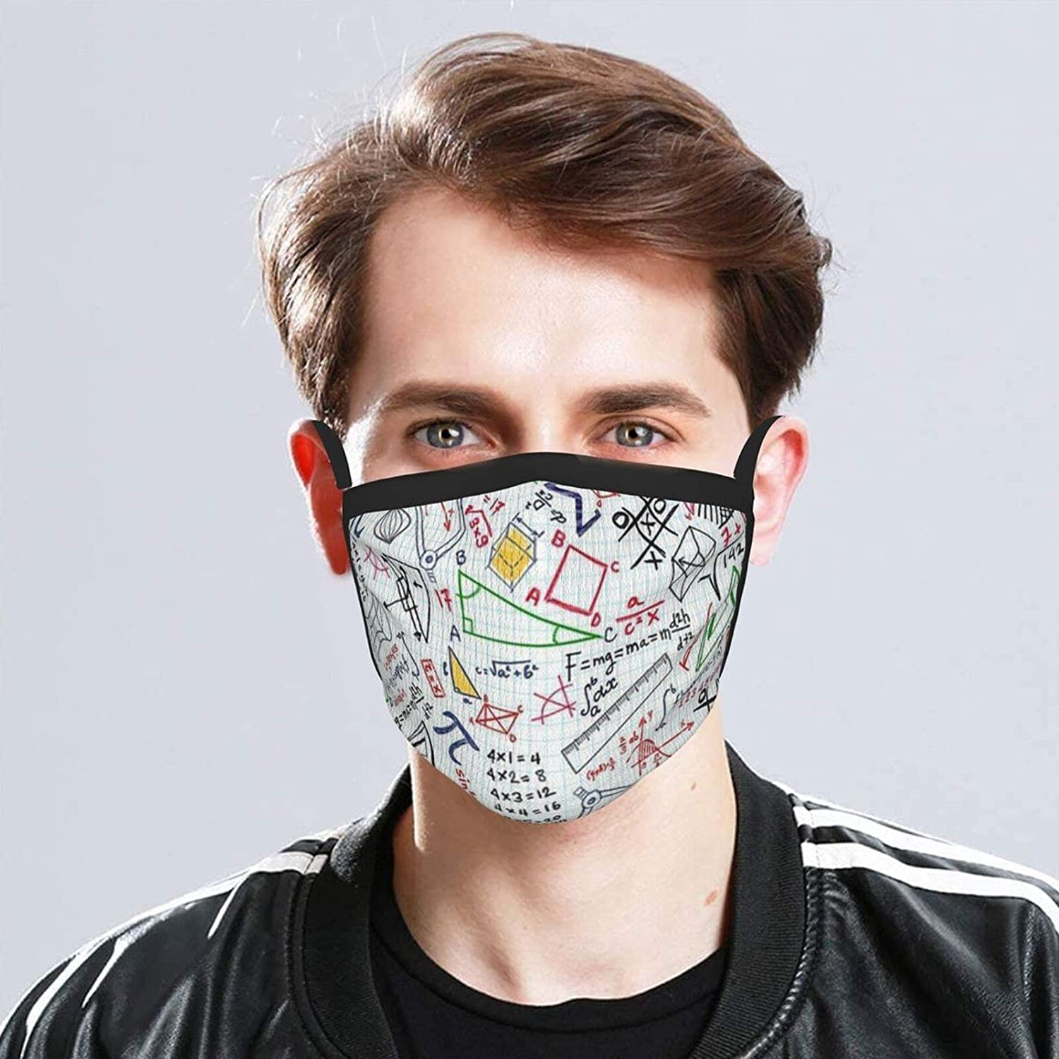 Balaclava Earmuffs Colorful Math Doodles On Grid Fabric Face Mouth Cover Mask Reusable Washable Scarf Towel Cover Headwrap