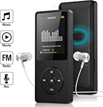 Mp3 Player, Ultra Slim Music Player with FM Radio, Voice Recorder, Video Play, Text Reading, Build-in Speaker, Expandable Up to 128 GB (Black)