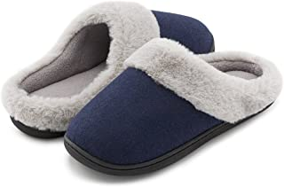 Cozy Niche Women's Woolen Fabric Memory Foam Anti-Slip House Slippers, Breathable Indoor Shoes