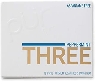 PUR Three Peppermint Gum Tray, 100% Xylitol Chewing Gum Sticks, Peppermint, Sugar-Free + Aspartame Free, Vegan + Non GMO, ...