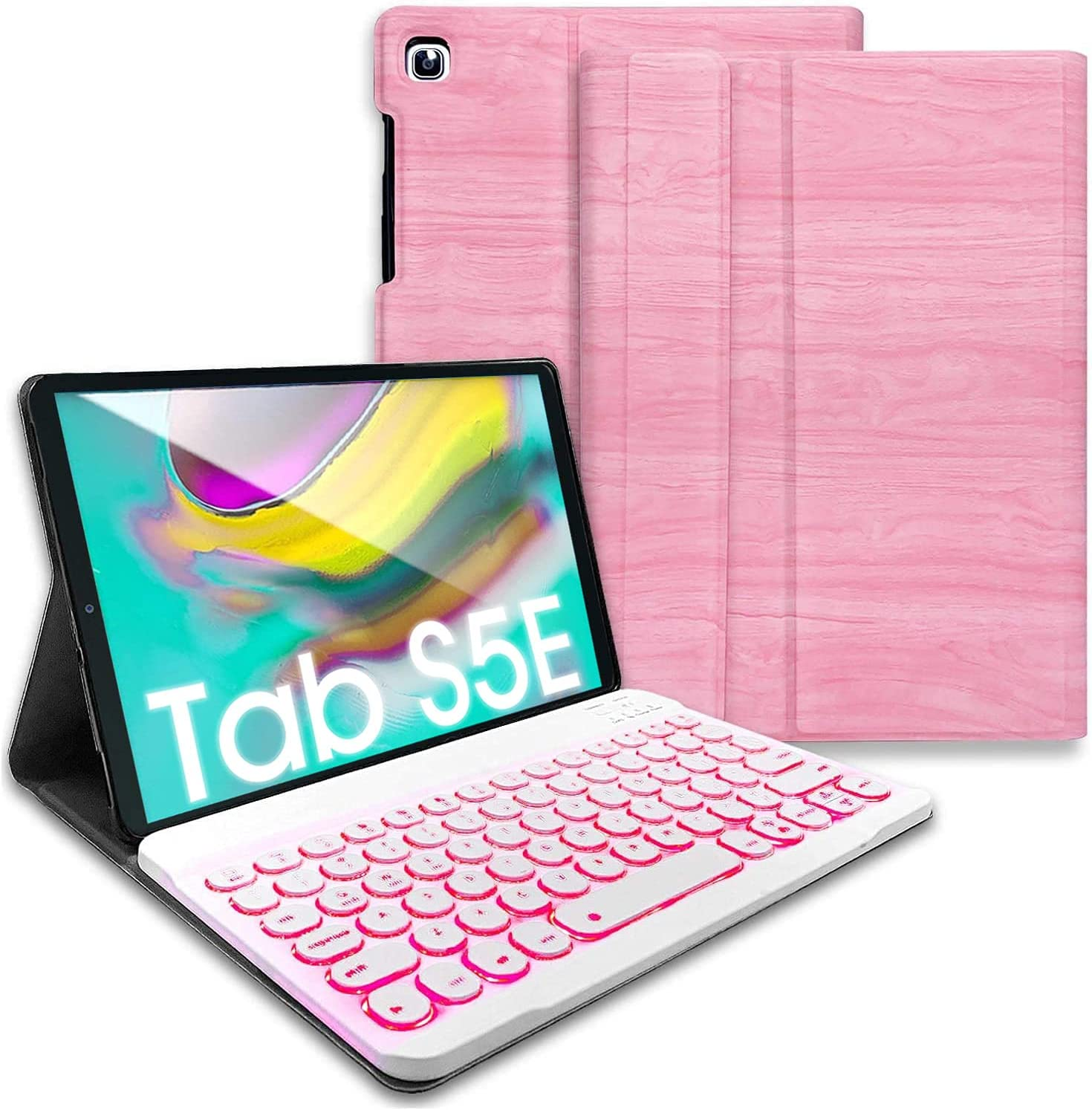 REAL-EAGLE Galaxy Tab S5e 2019 Backlit Keyboard Case SM-T720 SM-T725 SM-T727, 7 Color Backlights Detachable Wireless Keyboard Protective Case Cover for Samsung Galaxy Tab S5e 10.5 Inch 2019, Pink