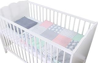 Conjunto de ropa de cuna de ULLENBOOM ® con elefantes menta rosa (juego de 2 piezas para cuna: funda de almohada de 35x40 cm y funda nórdica de 80x80 cm)