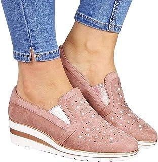 Clenp Zapatos De Las Mujeres, Zapatos Casuales De Los Holgazanes del Diamante Artificial De La Cuña del Resbalón-en El Ded...