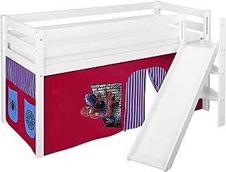 Lilokids Lit de jeu JELLE 90 x 190 cm Spiderman – Lit mezzanine blanc – avec toboggan incliné et rideau