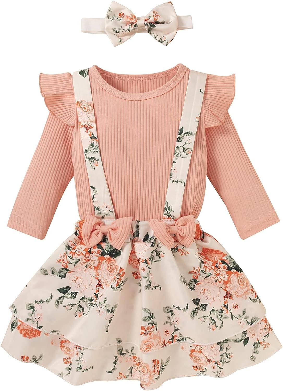 Infant Toddler Baby Girl Clothes Suspender Skirt Sets Long Sleeves Top Floral Dress 3PCS