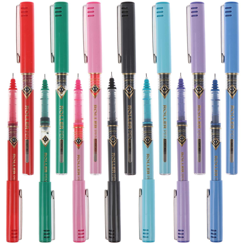 Xgood 14 قطعة أقلام تلوين بكرة دوارة أقلام حبر سريعة الجفاف أقلام حبر سائل 0 5 مم قلم حبر 7 ألوان أقلام حبر دوارة Amazon Ae