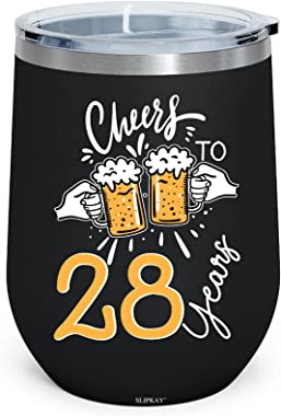 Cheers To 28 Years 28th Birthday Born In 1993 12oz Insulated Wine Tumbler
