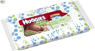 Huggies Bundle - 12 Pack of Natural Care Unscented Baby Travel Wipes 16ct. Each