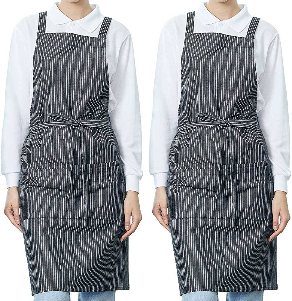 BE THE Fort Worth Mall CHEF Soft Stripe Double 2 Apr Ultra-Cheap Deals Back 3 Cross Pockets Colors