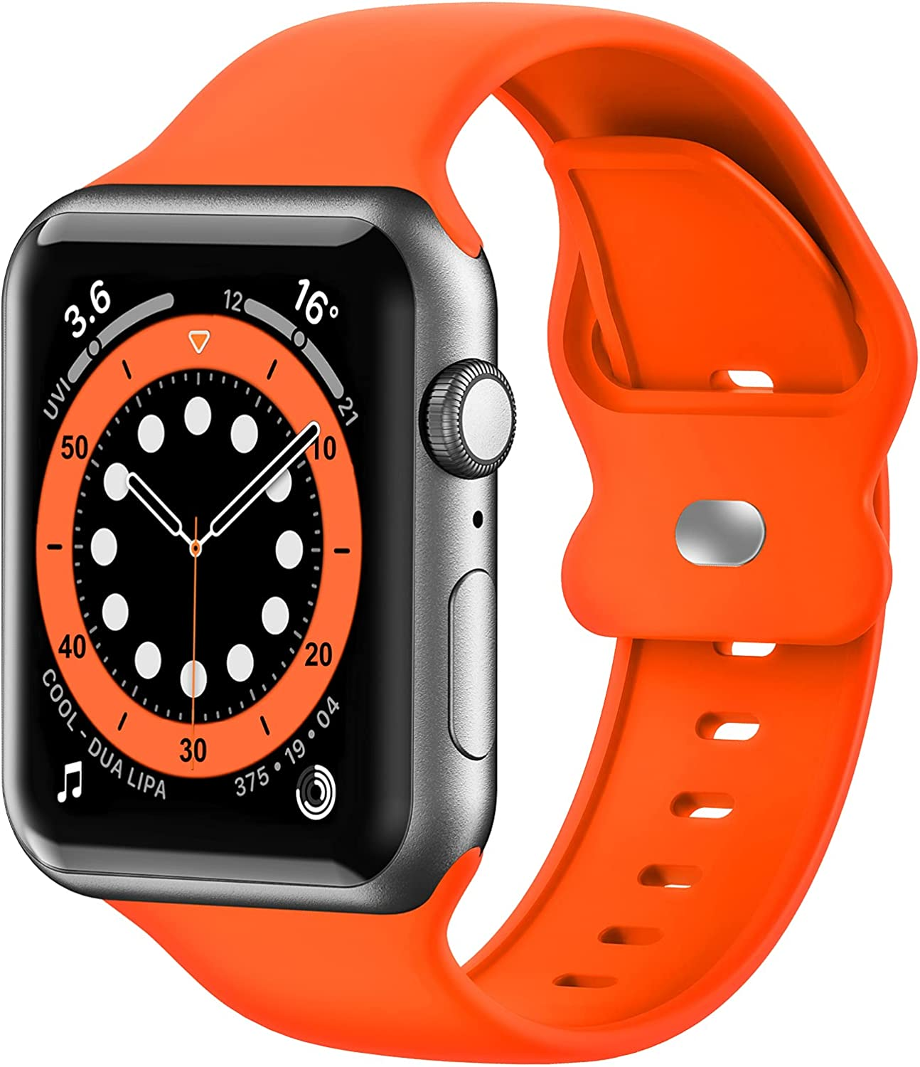 Upgrade Bands Compatible with Apple Watch Band 42mm 44mm 45mm for Women Men-Soft Silicone Replacement Sport Watch Strap for iWatch SE Series 7 6 5 4 3 2 1-Wristband