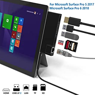 Cateck Microsoft Surface Pro 5 /Pro 6 USB 3.0 Hub Docking Station, Dual USB Card Reader, 2 Port USB 3.0 (5Gps) + Ethernet Port + Mini DP to HDMI + SD/TF(Micro SD) Memory Card Solt Combo Adaptor