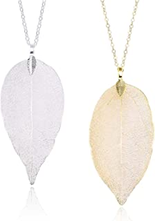 Set of 2 Long Leaf Pendant Necklaces Real Natural...