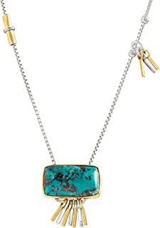 Turquoise Burst' 1 7/8 ct Compressed Turquoise Pendant Necklace in Sterling Silver & Brass
