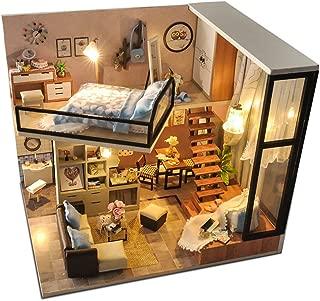 KitsPro DIY Miniature Dollhouse Kit Dust Proof Cover, 1:24 Scale Wooden DIY Dollhouse Kit Plus Furnitures Led Light Best Gift (2 # Attic)
