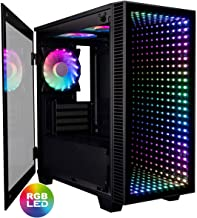 CUK Micro Continuum mATX Gaming Desktop Case with Tempered Glass Door (6 Addressable RGB Lotus Fans Pre-Installed, Remote Controller, Motherboard Sync)