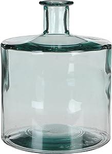 MICA Decorations Guan Botella de Cristal/–Jarrón, Vidrio, Transparente, Vidrio, Transparente, H. 26 cm D. 21 cm