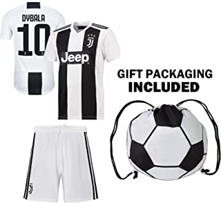 Dybala Juventus Home Youth Soccer Jersey & Shorts & Kit Bag Great Gift for Kids Boys Girls Football Jersey Juve Dybala #10